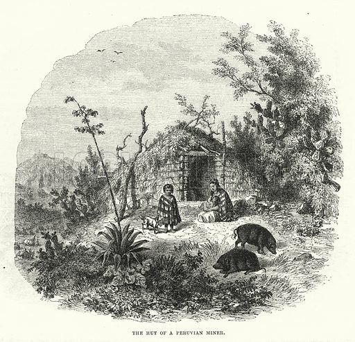 The hut of a Peruvian Miner. Illustration for The Illustrated Exhibitor and Magazine of Art (John Cassell, 1852).