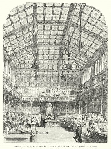 Interior of the House of Commons. Illustration for The Illustrated Exhibitor and Magazine of Art (John Cassell, 1852).