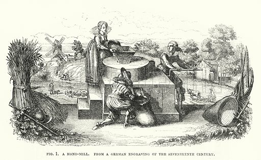 A hand-mill. Illustration for The Illustrated Exhibitor and Magazine of Art (John Cassell, 1852).