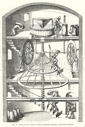 Interior of a mill of the sixteenth century, with two stories. Illustration for The Illustrated Exhibitor and Magazine of Art (John Cassell, 1852).