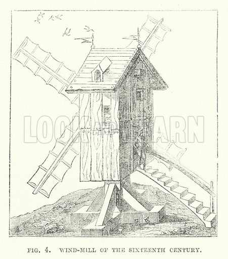 Wind-mill of the sixteenth century. Illustration for The Illustrated Exhibitor and Magazine of Art (John Cassell, 1852).