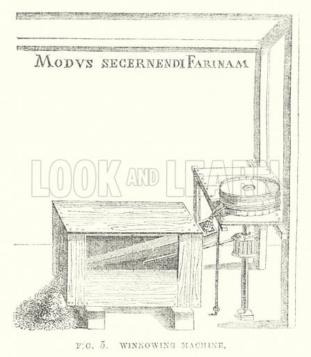 Winnowing machine. Illustration for The Illustrated Exhibitor and Magazine of Art (John Cassell, 1852).