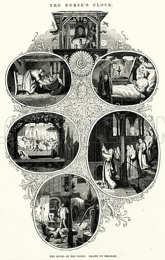 The hours of the night. Illustration for The Illustrated Exhibitor and Magazine of Art (John Cassell, 1852).