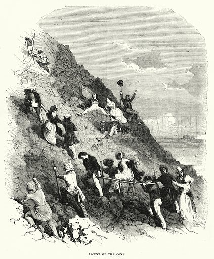 Ascent of the Cone. Illustration for The Illustrated Exhibitor and Magazine of Art (John Cassell, 1852).