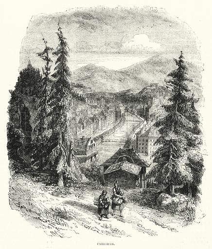 Carlsbad. Illustration for The Illustrated Exhibitor and Magazine of Art (John Cassell, 1852).