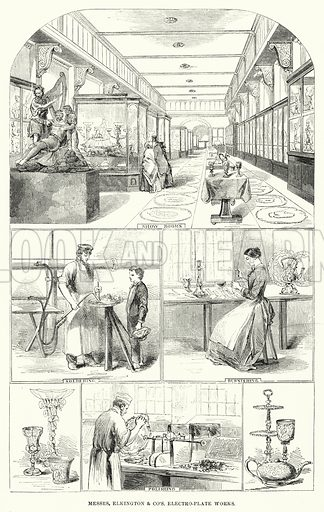Messrs Elkington and Co's electro-plate works. Illustration for The Illustrated Exhibitor and Magazine of Art (John Cassell, 1852).