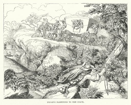 Pegasus harnessed to the coach. Illustration for The Illustrated Exhibitor and Magazine of Art (John Cassell, 1852).