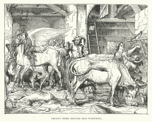 Pegasus being starved into subjection. Illustration for The Illustrated Exhibitor and Magazine of Art (John Cassell, 1852).