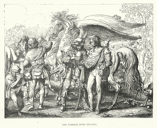 The farmer buys Pegasus. Illustration for The Illustrated Exhibitor and Magazine of Art (John Cassell, 1852).