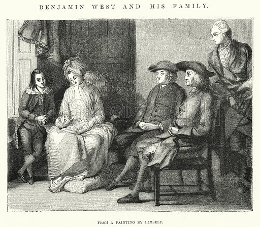 Benjamin West and his family. Illustration for The Illustrated Exhibitor and Magazine of Art (John Cassell, 1852).