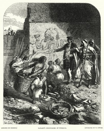 Layard's discoveries at Nimroud. Illustration for The Illustrated Exhibitor and Magazine of Art (John Cassell, 1852).