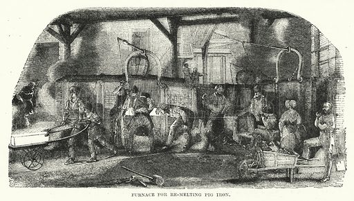 Furnace for re-melting pig iron. Illustration for The Illustrated Exhibitor and Magazine of Art (John Cassell, 1852).