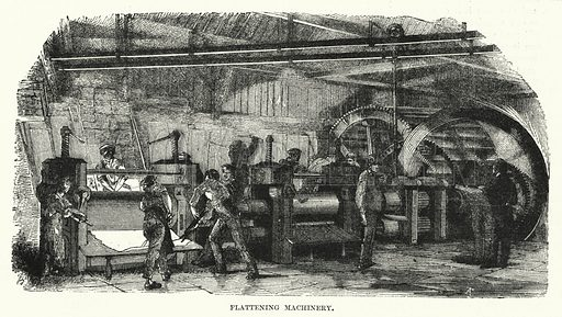 Flattening machinery. Illustration for The Illustrated Exhibitor and Magazine of Art (John Cassell, 1852).