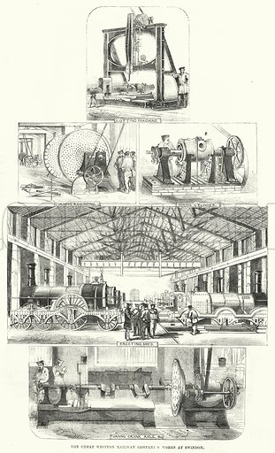The Great Western Railway Company's works at Swindon. Illustration for The Illustrated Exhibitor and Magazine of Art (John Cassell, 1852).