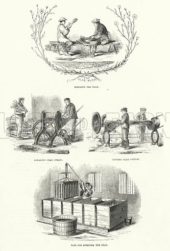 Flax Works. Illustration for The Illustrated Exhibitor and Magazine of Art (John Cassell, 1852).