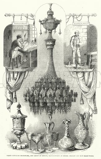 Grand cut-glass chandelier, and group of objects, manufactured at Messrs Pellatt and Co's Glass-Works. Illustration for The Illustrated Exhibitor and Magazine of Art (John Cassell, 1852).