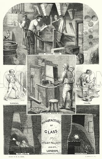 Manufacture of Glass at Apsley Pellatt and Cos, London. Illustration for The Illustrated Exhibitor and Magazine of Art (John Cassell, 1852).