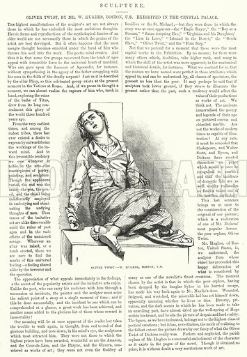 Oliver Twist by Mr W Hughes, Boston, US. Illustration for The Illustrated Exhibitor and Magazine of Art (John Cassell, 1852).