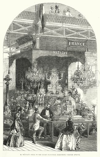 M Matifat's stall in the Great Industrial Exhibition, Centre Avenue. Illustration for The Illustrated Exhibitor and Magazine of Art (John Cassell, 1852).