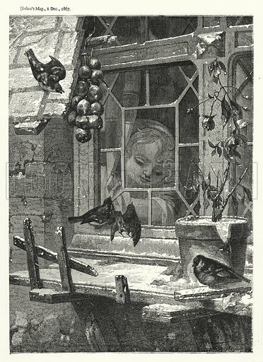 Feeding the birds. Illustration for The Infant's Magazine (1867).