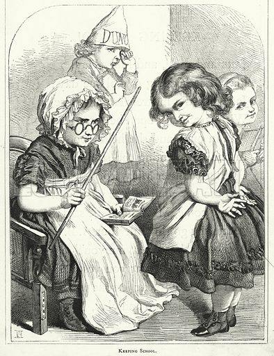 Keeping School. Illustration for The Infant's Magazine (1867).