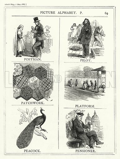 Picture Alphabet, P. Illustration for The Infant's Magazine (1867).