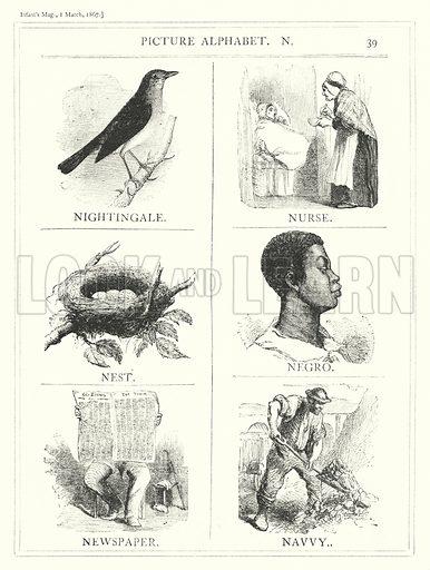 Picture Alphabet, N. Illustration for The Infant's Magazine (1867).