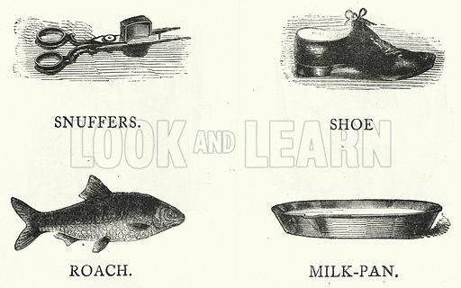 Snuffers; Shoe; Roach; Milk Pan. Illustration for The Infant's Magazine (1868).