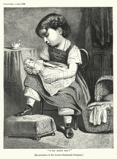 """Is my doll sick!"" Illustration for The Infant's Magazine (1868)."