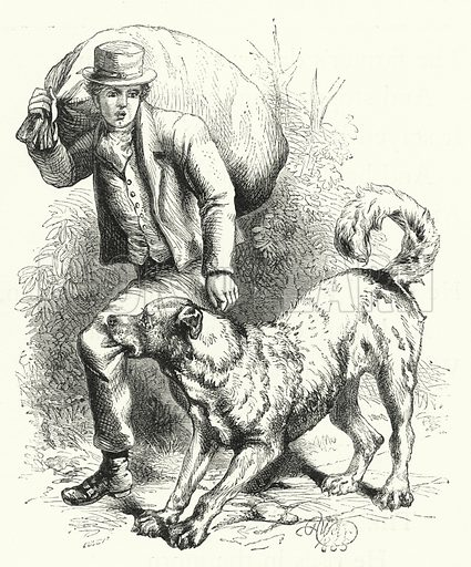 The Dog and the Thief. Illustration for The Infant's Magazine (1869).