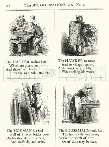 Trades, Occupations. Illustration for The Infant's Magazine (1869).
