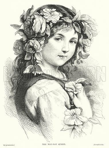 The May-Day Queen. Illustration for The Infant's Magazine (1869).