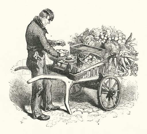 The Costermonger. Illustration for The Infant's Magazine (1869).