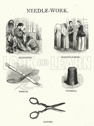 Needle-Work. Illustration for The Infant's Magazine (1869).