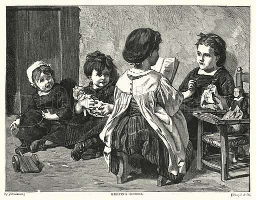 Keeping School. Illustration for The Infant's Magazine (1870).