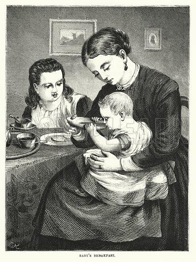 Baby's Breakfast. Illustration for The Infant's Magazine (1870).