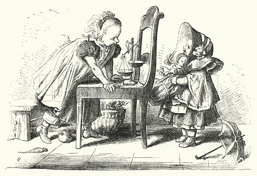 The Shop in the Nursery. Illustration for The Infant's Magazine (1870).