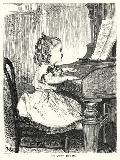The Music Lesson. Illustration for The Infant's Magazine (1870).