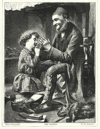 The Puzzle. Illustration for The Infant's Magazine (1870).