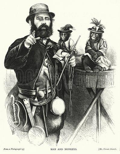 Man and Monkeys. Illustration for The Infant's Magazine (1870).