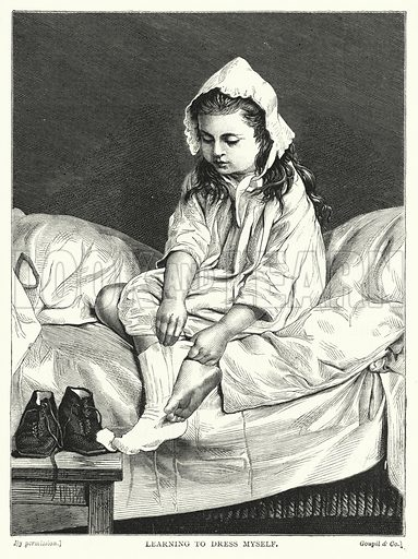 Learning to Dress Myself. Illustration for The Infant's Magazine (1870).