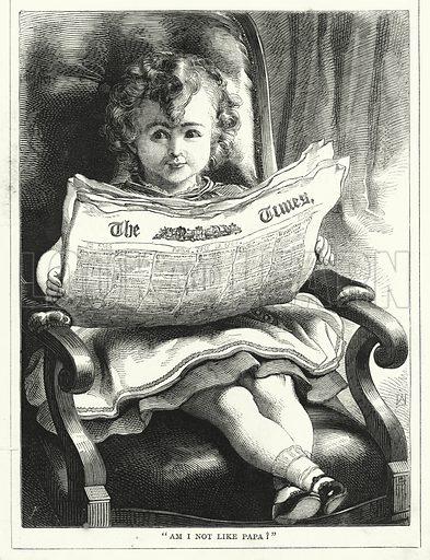 """""""Am I not like papa!"""" Illustration for The Infant's Magazine (1870)."""