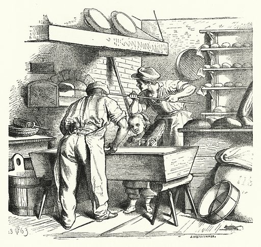 The Baker's Shop. Illustration for The Infant's Magazine (1870).
