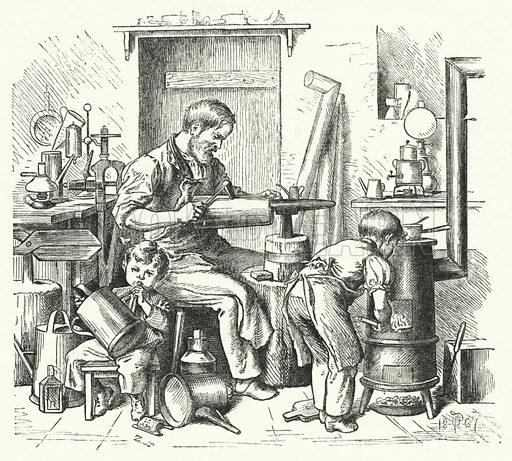 The Tinsmith. Illustration for The Infant's Magazine (1870).