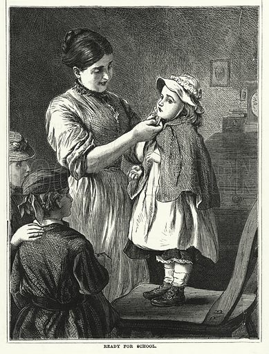 Ready for School. Illustration for The Infant's Magazine (1871).