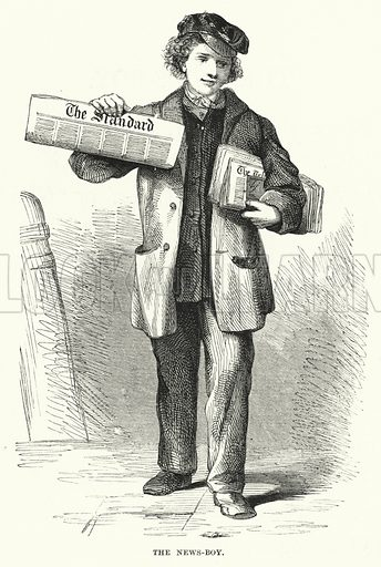 The News-Boy. Illustration for The Infant's Magazine (1871).