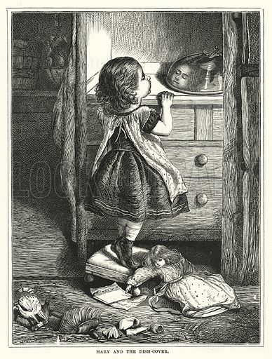 Mary and the Dish-Cover. Illustration for The Infant's Magazine (1871).