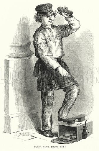 Black your Boots, Sir? Illustration for The Infant's Magazine (1871).