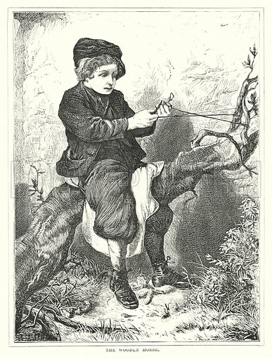 The Wooden Horse. Illustration for The Infant's Magazine (1871).