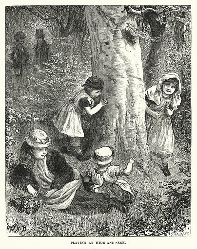 Playing at Hide-and-Seek. Illustration for The Infant's Magazine (1876).